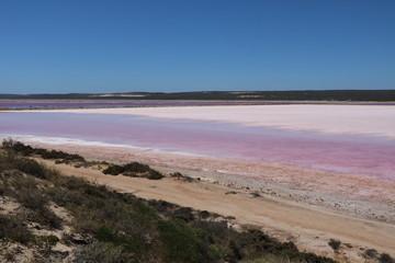 Hutt Lagoon or Pink Lake in Western Australia, Oceania