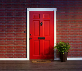 Inviting red front door with welcome mat and potted fern plant