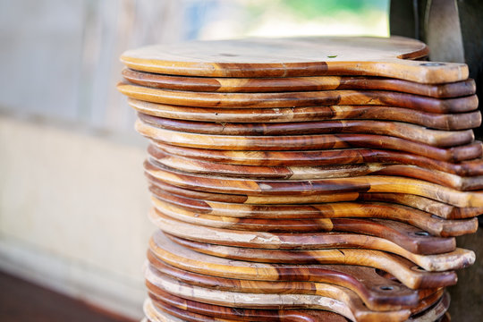 Stack Of Wooden Pizza Boards