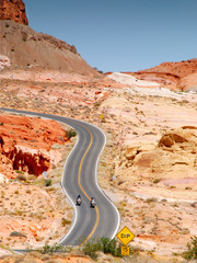 Fototapete - motorcycle riding in valley of fire state park in Nevada