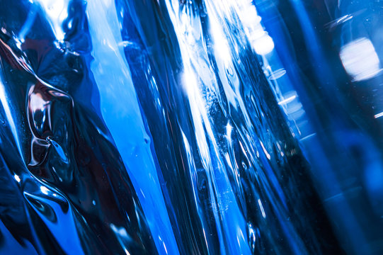 Rippled reflective blue surface