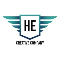 Initial Letter HE Logo Shield Element Template Design Logos