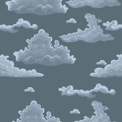 Seamless texture with clouds. Vector template for textile, wrapping paper and other.