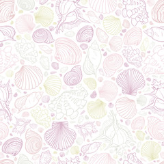Vector white pastel colours repeat pattern with variety of seashells. Perfect for greetings, invitations, wrapping paper, textile, wedding and web design.