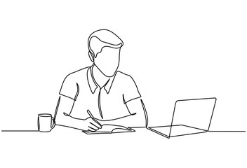 Continuous line drawing of businessman with laptops. Concept of young people using mobile devices. businessman with cup of coffee using laptop at home or office isolated on white background.