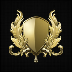 Luxury Gold Heraldic Logo with shield and floral. Vector