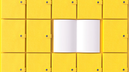 Yellow notebooks arranged together for background.