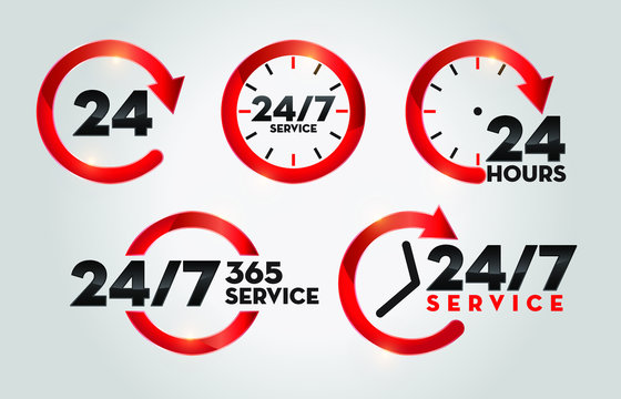 24 Hours 365 Days Service. Twenty Four Seven Customer Service Icon Collection