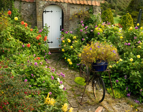 English cottage garden with wall and arched gate and old bicycle