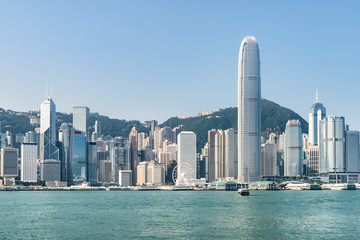 Fabulous view of Hong Kong Island skyline on sunny day