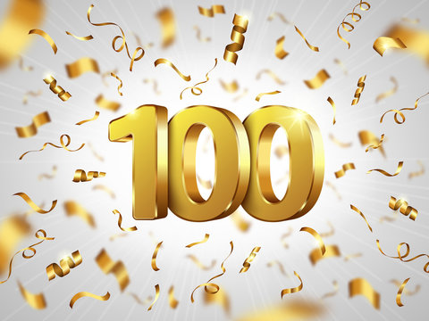 100 year anniversary celebration, realistic vector. White background with 3D gold metal numbers and falling shining golden spiral confetti. Festive banner for birthday, wedding party or Christmas sale