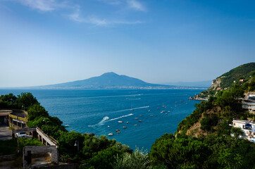 Picturesque aerial view of Vico Equense with its amasing architecture and Mount Vesuvius in the south of Italy. Travel destinations concept. Wall mural
