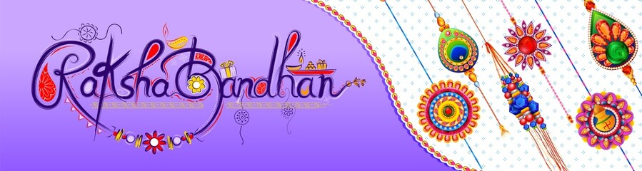 Wall Mural - illustration of greeting card and template banner for sales promotion advertisement with decorative Rakhi for Raksha Bandhan, Indian festival for brother and sister bonding celebration