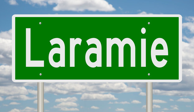 Rendering of a green highway sign for Laramie Wyoming