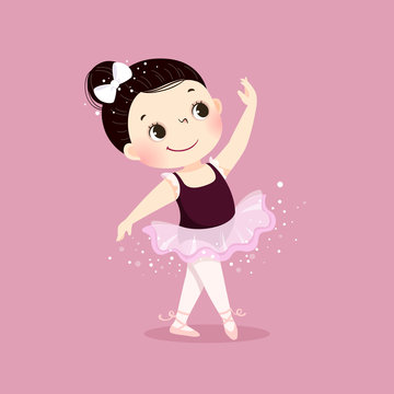 Vector illustration of little ballerina girl dancing on pink background. Kid in ballet class.