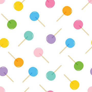 Vector seamless pattern background with coloful lollipops, candies, sweets.