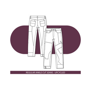 REGULAR CUT ANKLE JEANS UPCYCLED VECTOR FLAT