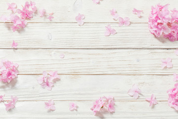 Foto auf Leinwand Hortensie pink hydrangea on white wooden background
