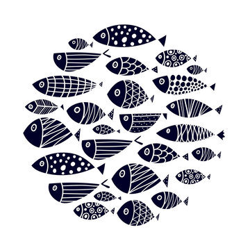 Cute fish card. Around motif with fish. Black illustration.