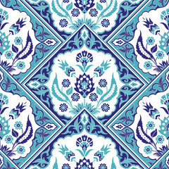Turkish arabic pattern vector seamless border. Damask tile texture with flowers motifs design. Iznik ceramic mosaic. Eastern indian floral texture for wallpaper, home textile, interior wall decor.
