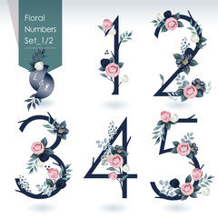 Wall Mural - Vector illustration of floral numbers collection in spring. A set of beautiful flowers and numbers for wedding, invitations and birthday cards