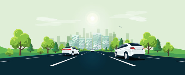 Traffic on the highway panoramic perspective horizon vanishing point view. Flat vector cartoon style illustration urban landscape street with cars, skyline city buildings and road going to the city.