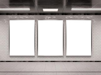 Vertical triple underground billboard frame Mockup 3D rendering