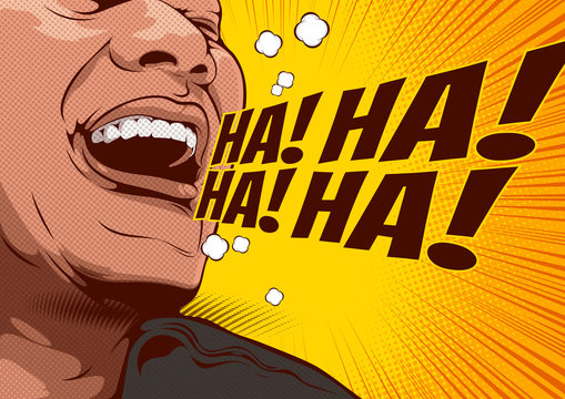 picture of happy laughing man, cartoon comic background, speech bubbles, doodle art, vector illustration.