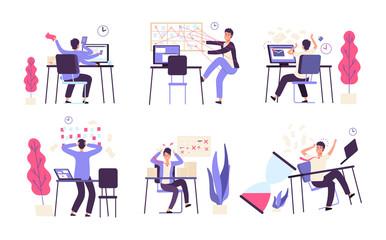 People unorganized. Men fail scheduled task efficiency productivity time management vector concept. Illustration of failure productivity, office businessman fail