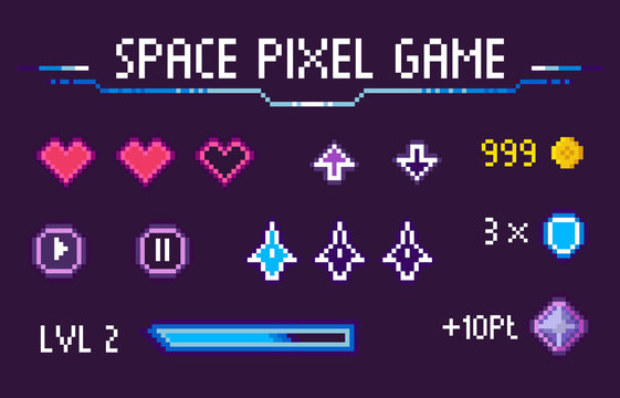 Space pixel game vector, isolated set of hearts symbolizing life and health, icons of navigation, pause and play, level and experience, gaming points, pixelated cosmic object for mobile app games