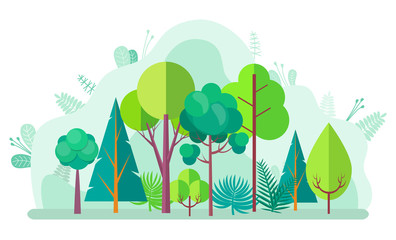 Green forest with tree and bushes, firs and birches, pines and oaks on blurred background of green plants. Vector landscape with wood design elements