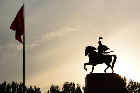 Manas statue. Ala Too square. Bishkek. Kyrgyzstan