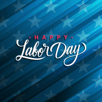USA Labor Day greeting card with handwritten holiday greetings Happy Labor Day. United States national holiday vector illustration.