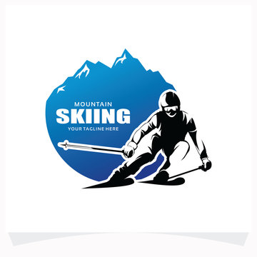 Mountain Skiing Logo Design Template