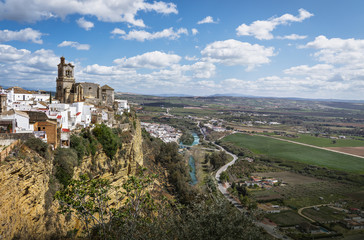 Aerial view of Arcos de la Frontera with St. Mary Parish Church -  Cadiz Province, Andalusia, Spain