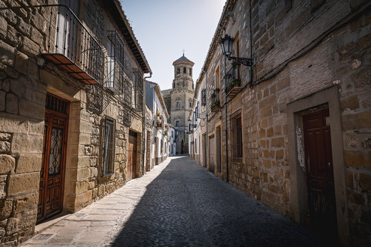 Medieval street of Baeza with old University Tower - Baeza, Jaen Province, Andalusia, Spain