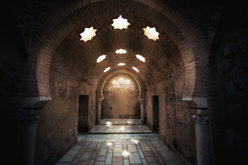 Interior of Arab Baths Ruins in Andalusia - Jaen, Andalusia, Spain Fototapete