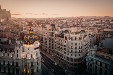 Foto auf AluDibond Madrid Aerial view of Gran Via Street - Madrid, Spain