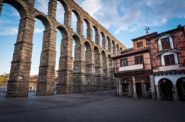 Roman Aqueduct of Segovia and Plaza del Azoguejo square - Segovia, Castile and Leon, Spain