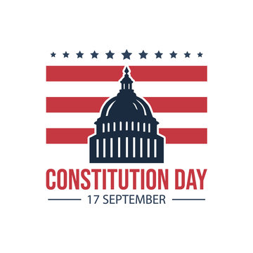 American constitution day badge vector logo icon isolated on white background