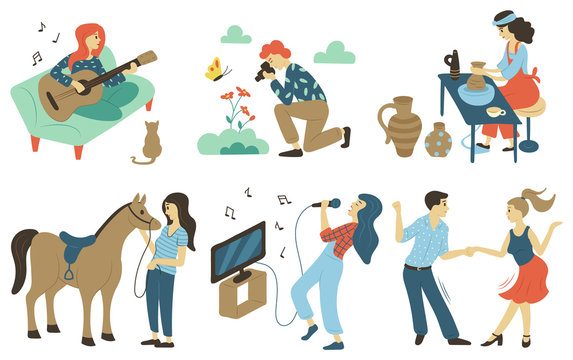 Photography hobby vector, playing guitar and singing songs at karaoke. Woman and man dancing at disco, pottery making pots from clay, horse equestrian