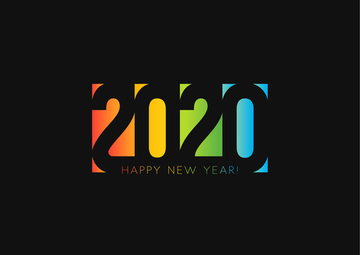 Happy New Year 2020. Negative space style design, cut out numbers from colored paper. Twenty twenty holiday Logo Design. Vector illustration on black background.