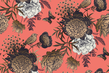 Garden flowers peonies on a coral background. Luxury seamless pattern.