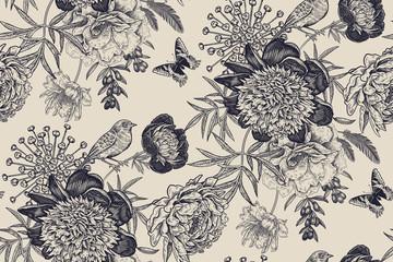Floral seamless pattern with garden flowers peonies, bird and butterflies.