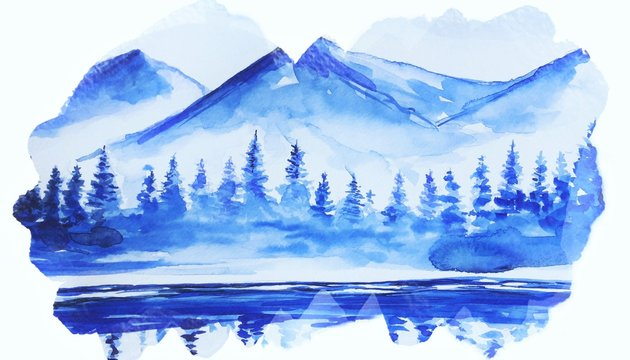 Beautiful winter art water color background illustration