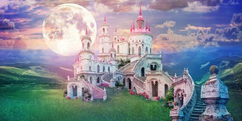 Fototapeta fantastic landscape with beautiful old castle and moon. Wonderland background obraz