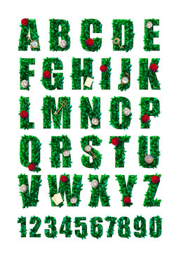wonderland alphabet  with green leaves, red roses and white roses, keys, clock and cards. beautiful fantasy letters and numbers with flowers