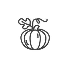 Pumpkin with leaf line icon. linear style sign for mobile concept and web design. Pumpkin vegetable outline vector icon. Harvest symbol, logo illustration. Vector graphics