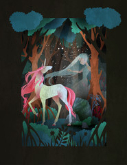 Young woman and unicorn in front of night forest, fairytale illustration