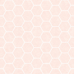 Pastel pink and white hexagonal honeycomb design. Seamless vector pattern with transparent watercolor effect texture. Great for wellness, cosmetic,health products, packaging, baby, stationery